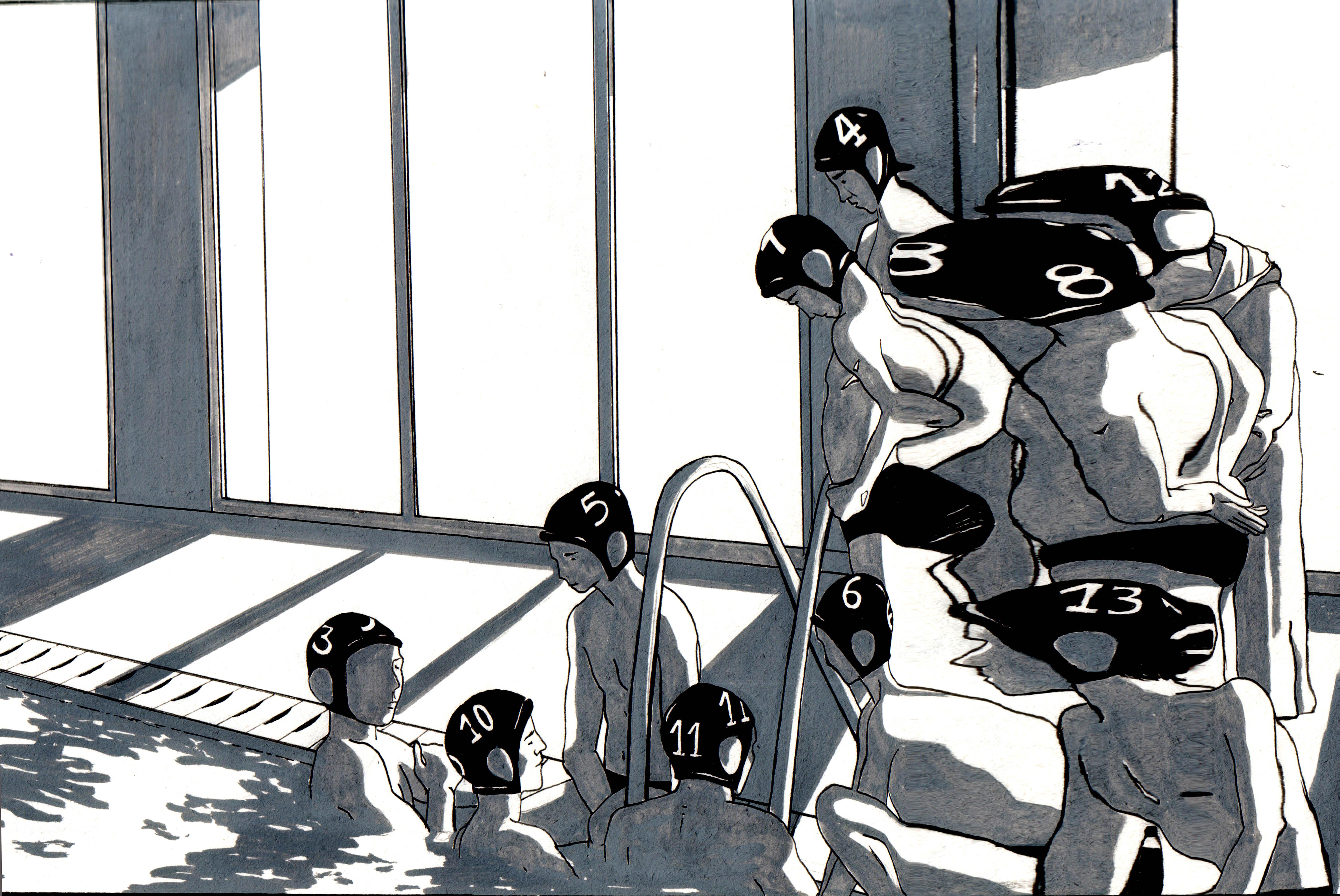 Waterpolistas a través de unas gafas de nadar.